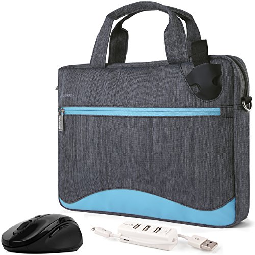Slim Blue Laptop Bag 11 to 13.3 inch, Mouse, USB