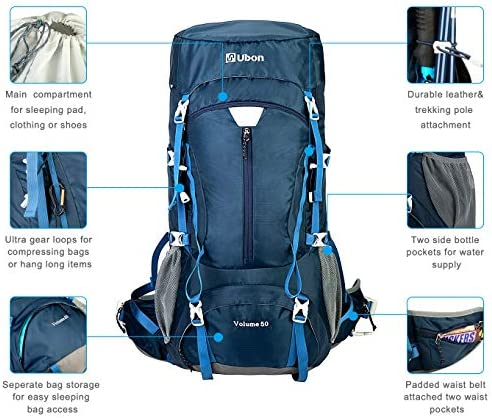 Ubon Internal Frame Backpack 50L for Hiking Camping Backpacking with Rain Cover