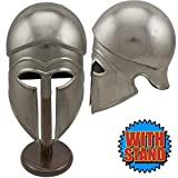 PAN001 Medieval Carbon Steel Corinthian Greek Helmet with stand