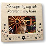 BANBERRY DESIGNS Pet Memorial Ceramic Picture Frame - No Longer by My Side Forever in My Heart - Loss of a Pet Gift - Pet Photo Frame - Pet Sympathy Gift - in Memory of a Pet