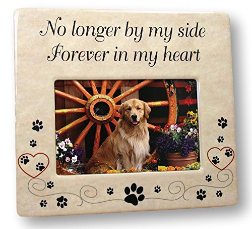 BANBERRY DESIGNS Pet Memorial Ceramic Picture Frame - No Longer by My Side Forever in My Heart - Loss of a Pet Gift - Pet Photo Frame - Pet Sympathy ()