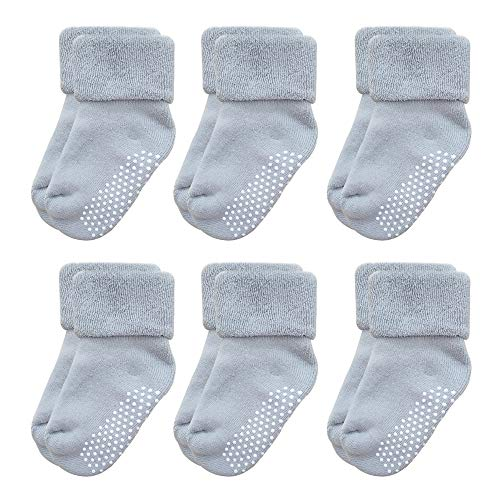 Gripper Baby Socks - VWU Baby Socks with Grips Thick Cotton Socks for Toddler Infant Baby Girl Baby Boy 0-3 Years Old 5 Color (3-12 months, Grey(6-pack))
