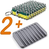 Cast Iron Cleaner Stainless Steel Skillet Chainmail Scrubber for Cast Iron Cookware & Glassware&Drainage Frame (Yellow)