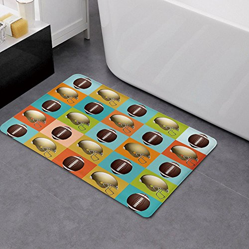 Memory Foam Bath Mat,Football,Colorful Squares Mosaic Pattern with Protective Helmets and Balls College Activity DecorativePlush Wanderlust Bathroom Decor Mat Rug Carpet with Anti-Slip Backing,Multic by iPrint (Image #2)