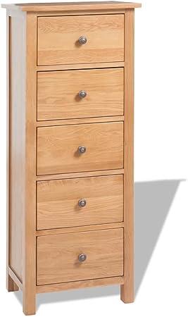 Furnituredeals Buffet Pas Cher Armoire Avec Tiroirs En Chene Massif 45 X 32 X 115cm Marron Meubles De Rangement Buffet Bois Amazon Fr Cuisine Maison