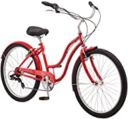 Schwinn Mikko & Huron Adult Beach Cruiser Bike, Featuring Steel Step-Over or Step Through Frames, 1, 3, 7-