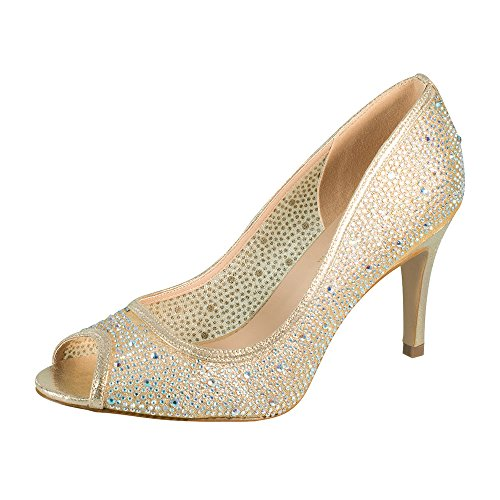 Jolie-1 Women's Rhinestone Middle Heel Slip-on Dress Pump for Wedding Prom Nude 5.5