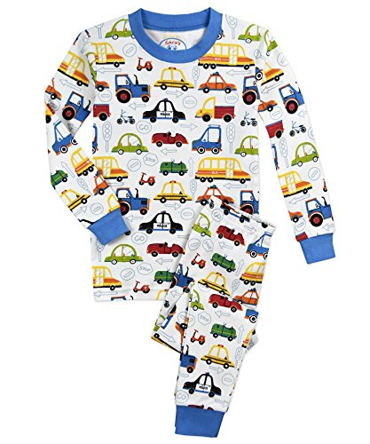 (Sara's Prints Boys' Little Cotton Long John Pajamas, Cartoon Cars 4)
