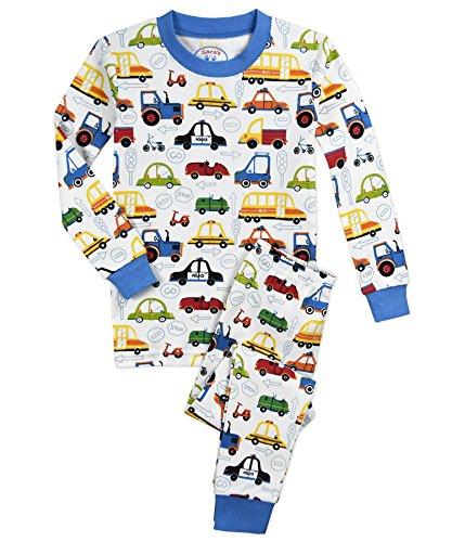 - Sara's Prints Boys' Little Cotton Long John Pajamas, Cartoon Cars, 4