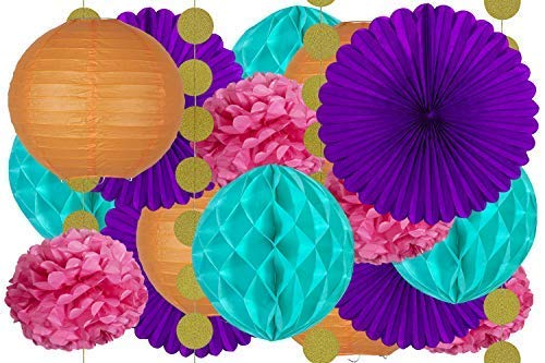 - 20 pcs Hanging Paper Party Decoration Supplies Kit in Orange, Pink, Purple, Teal, and Glitter Gold-Includes 4 Lanterns, 4 Pom Pom Flowers, 4 Tissue Fans, 4 Honeycombs, and 4 Strings of Dot Garland