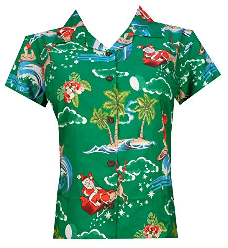 (Hawaiian Shirt Women 41W Santa Aloha Beach Blouse Camp Swim Party Green)