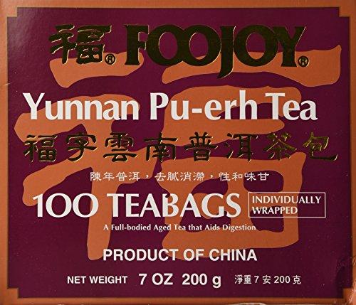 Foojoy Yunnan Bo Nay Tea, Yunnan Pu-erh Tea 100 Individually Wrapped Teabags