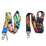 Dragon Ball Z Cartoon Anime Lanyard 2pc Set Neck Strap badge holder for Flash drive Camera ID Keys Keychain