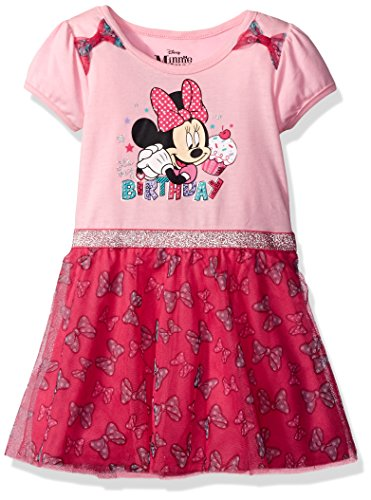 Disney Little Girls' Toddler Minnie Mouse Birthday Dress, Pink, 3T -
