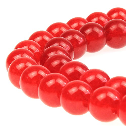 JARTC Stone Beads Red Jade Round Loose Beads for Jewelry Making DIY Bracelet Necklace (10mm)