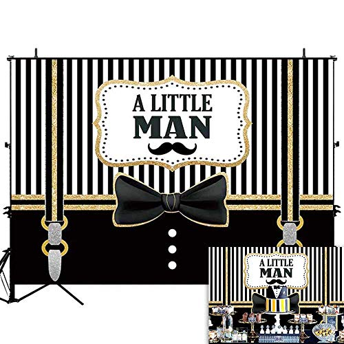 Allenjoy 7x5ft Black and White Stripe Little Man is On The Way Backdrop Bow Tie Gentleman Mustache Party Banner Boys 1st Birthday Baby Shower Photography Background Photo Booth Props