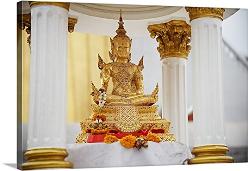 Canvas On Demand Premium Thick-Wrap Canvas Wall Art Print entitled small gold seated thai buddha by Canvas on Demand