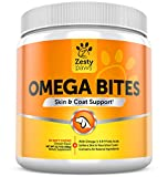 Omega 3 Chew Treats for Dogs - All Natural Fish Oil Pet Food Supplement - For Shiny Coats & Healthy Itch Free Skin - Bone, Joint & Brain Support - 90 Count Chewable Bites