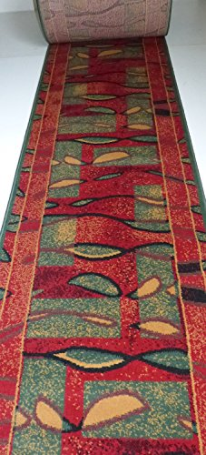Teppich Läufer nach Maß Rot Grün 1004 lfm. 9,90 Euro Breite 60x 120 cm