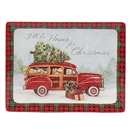"""Certified International 22789 Home for Christmas Rectangular Platter 16"""" x 12"""" Servware, Serving Accessories, One Size, Multicolor"""