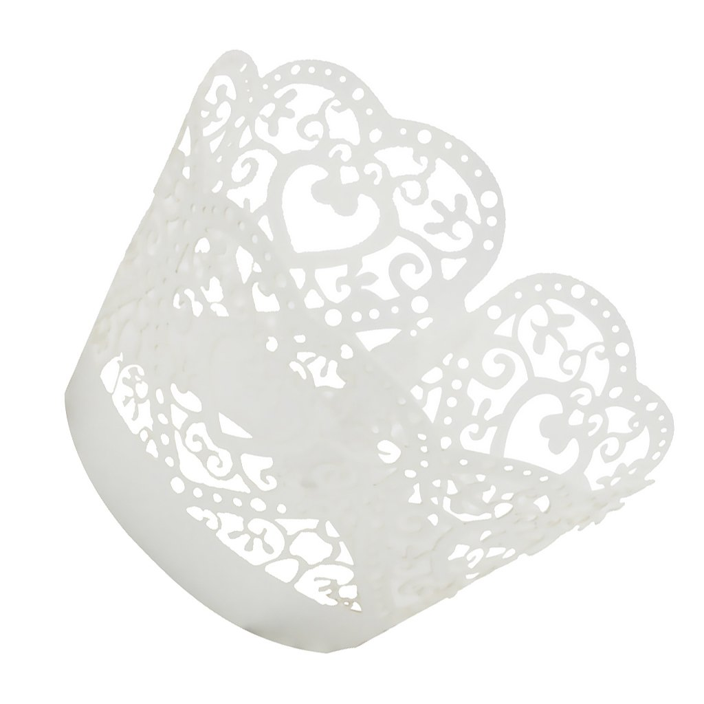 Black MagiDeal Pack of 50pcs Hollow Out Heart Shape Cake Paper Wrap Cupcake Wrapper 4 Colors
