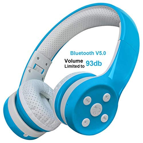 Kids Bluetooth Headphones Yusonic Wireless Over Ear Volume limiting Foldable Headset with Mic Stereo Cordless Ear Muffs for Cell Phones TV Computer Toddler Tablet Game School Boys Girls Blue 1