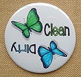 Dishwasher Magnet, 3.5', Clean/Dirty, Butterfly Art, Color Pencil Art, Dishwasher Reminder