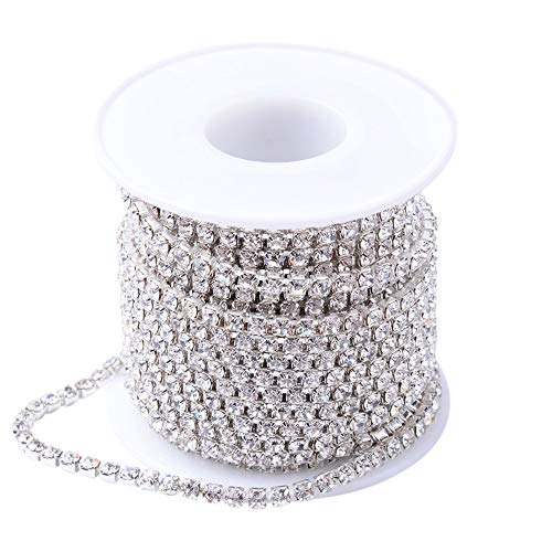PH PandaHall 10 Yards Crystal Rhinestone Close Chain Clear Trimming Claw Chain Sewing Craft About 2100pcs Rhinestones, 3.5mm- Crystal (Silver Bottom)