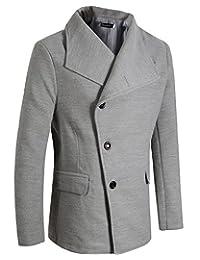 Benibos Men's Unbalance High Neck Slim Pea Coat