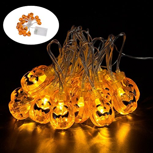 Nicetop Pumpkin String Lights,Battery Operated LED Fairy String Lights 3D Pumpkin 20 LEDs String Lights Halloween Decoration Lights,Perfect For Indoor, Holiday, Festival, Party,Christmas Decor (Diy Halloween Dorm Decorations)