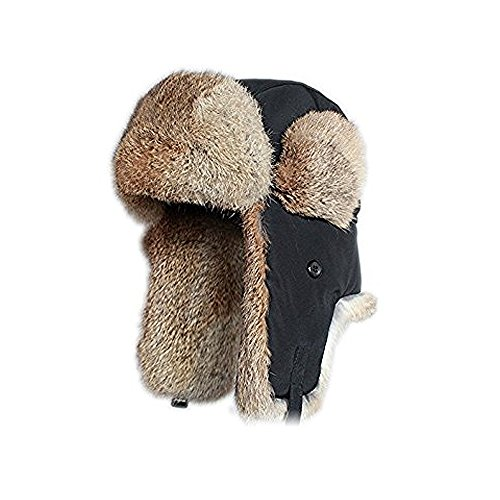 PU Health Winter Warm Faux Fur Trim Authentic Trapper Aviator Style Cold Weather Cap, Black, 3 Count