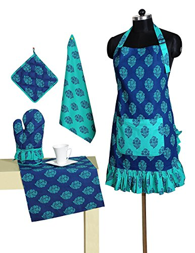 Patterned Belted Cotton Chef's Apron Set with Pot Holder, Oven Mitts & Napkins - Perfect Home Kitchen Gift or Bridal Shower Gift