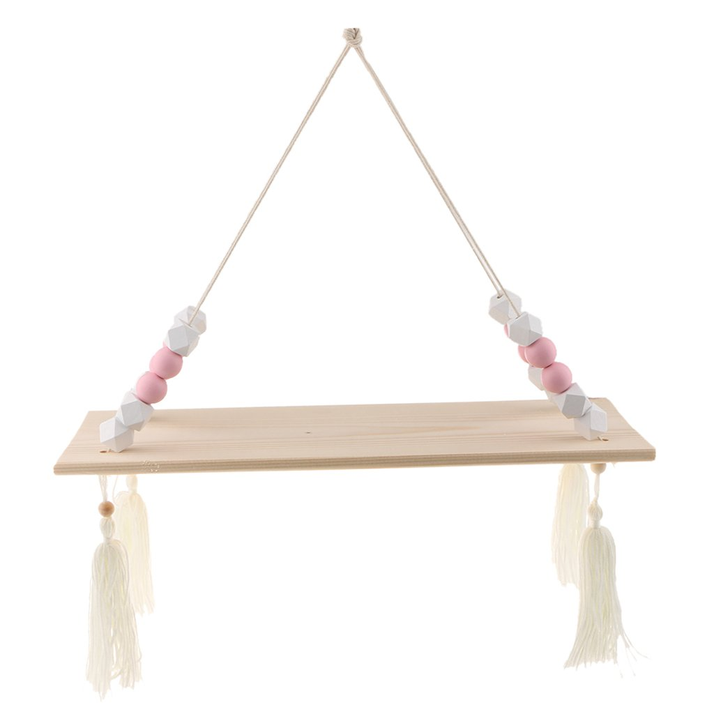 Fenteer Wall Hanging Shelf Wood Swing Shelves Baby Kids Room Storage Holder Hanger - 1 Layer - White