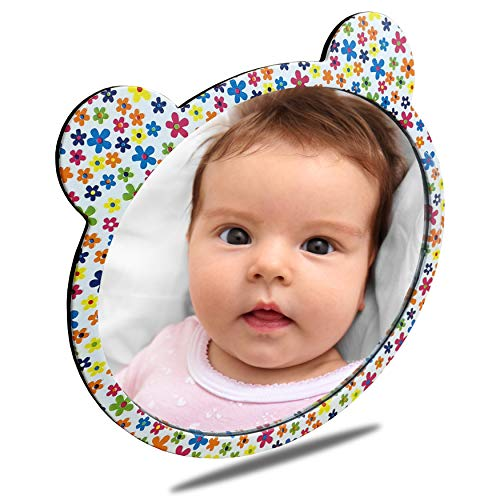 Facekyo Baby Mirror for Car | Baby Car Mirror | Baby Back Seat Mirror | Super Locking System with Floral ()