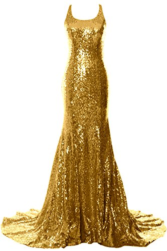 MACloth Women Mermaid Long Prom Dress Open Back Wedding Formal Evening Gown Gold