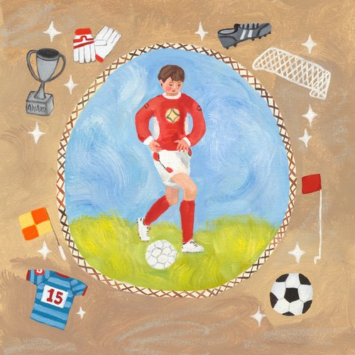 Oopsy Daisy Soccer Star- Boy Stretched Canvas Wall Art by Donna Ingemanson, 14 by 14-Inch ()