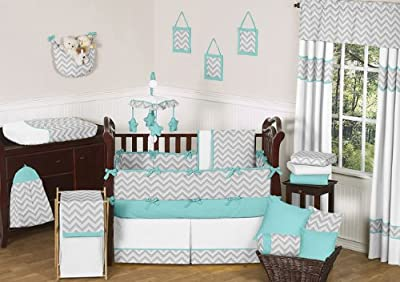 Modern Gray and Turquoise Zig Zag Grey Baby Boy Girl Unisex 9 pc Bedding Crib Set by Sweet Jojo Designs from Sweet Jojo Designs