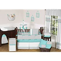 Modern Gray and Turquoise Zig Zag Grey Baby Boy Girl Unisex 9 pc Bedding Crib Set by Sweet Jojo Designs