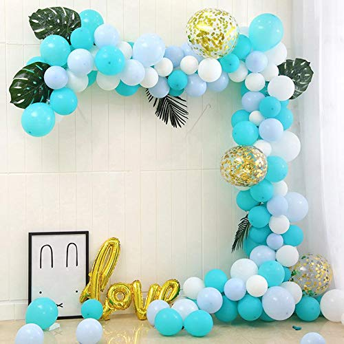 Wrappen Blue & Turquoise Balloon Garland Arch Kit-154 Piece Balloon Party Set- White, Turquoise, Blue, Clear, Macaron Balloons, DIY-Baby Boy Shower, Birthday, & Graduation Organic Party Decorations ()