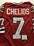 "Autographed/Signed Chris Chelios ""HOF 2013"" Chicago Blackhawks Red Hockey Jersey Beckett BAS COA"