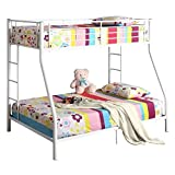 Walker Edison Twin-Over-Full Metal Bunk Bed, White