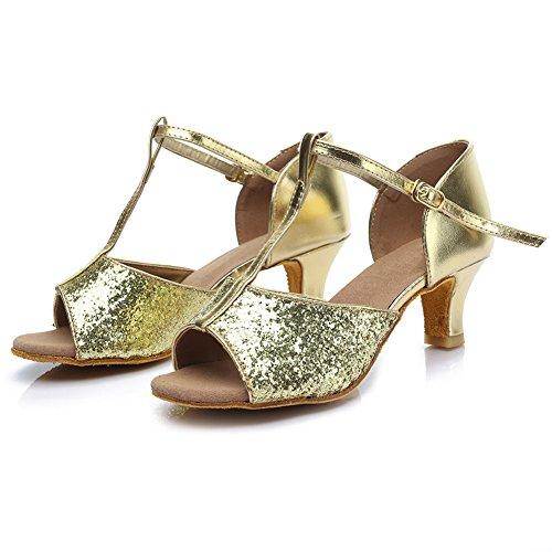 Chacha Chaussures Danse Femmes Ballroom 216 Latin De Hroyl Moderne Samba 5cm Paillettes Or Pour D7 Standard 0WSBBRz