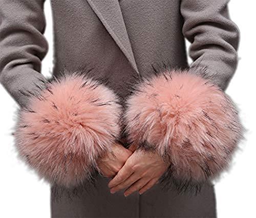 Bhwin Women Winter Faux Fur Cuffs Arm Warmers Short Furry Wrist Cuffs Warmer