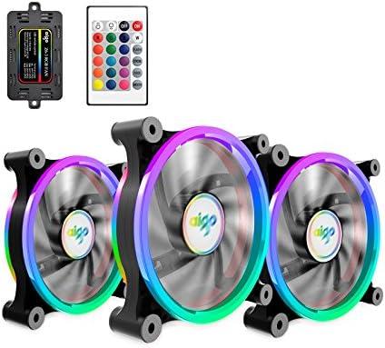 Aigo 3 de la Pack PC Enfriador,RGB LED 120 mm Silencioso Alto Aire ...