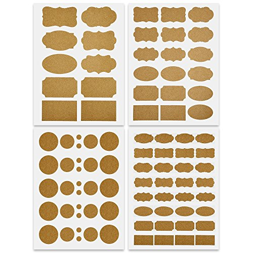 Mudder Fancy Shape Kraft Paper Essential Oil Bottle Stickers Labels Chalkboard Stickers Food Jars Labels, 4 Sheets