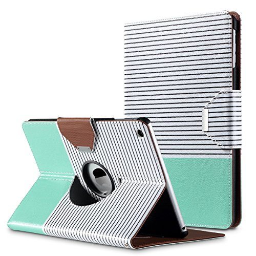 ULAK iPad Air Case, 360 Degrees Rotating Stand Case for iPad Air (2013 Release) with Auto Sleep/Wake Feature (Minimal Mint Stripes)