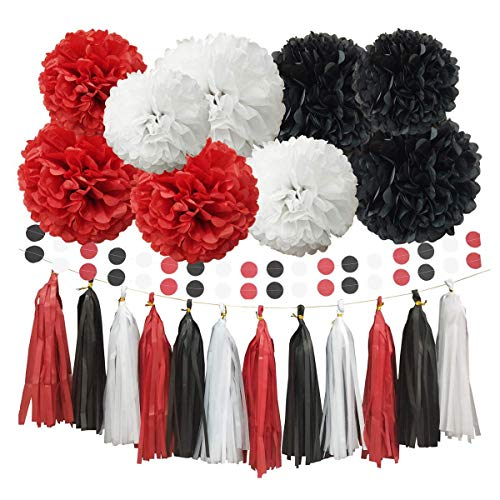 InBy 23pcs Mickey Mouse Party Decoration Tissue Paper Pom Poms Tassel Garland Kit for Baby Shower Bridal Wedding Bachelorette Birthday Graduation Supplies - Red, Black, White -