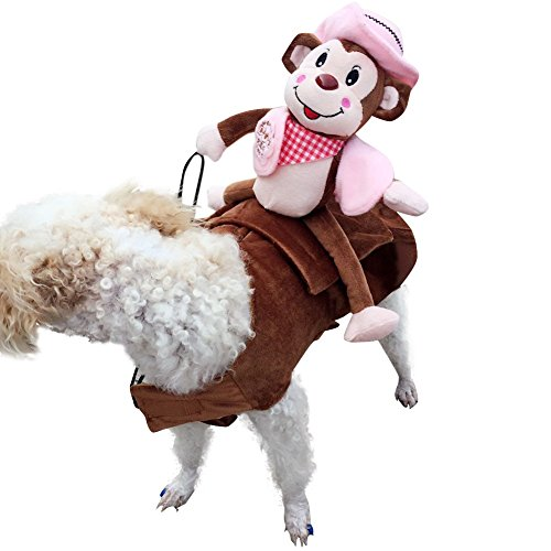 LETSQK Funny Pet Dog Monkey Knight Harness Costume Apparel Warm Coat Clothes Pink M (Banana Costume For Dogs)