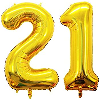GOER 42 Inch Gold Number 21 BalloonJumbo Foil Helium Balloons For 21st Birthday Party Decorations And Anniversary Event