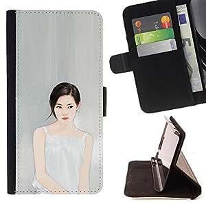 "For Samsung Galaxy S6 Edge Plus / S6 Edge+ G928,S-type Profundo Pensamiento Retrato Gris Gris Moda"" - Dibujo PU billetera de cuero Funda Case Caso de la piel de la bolsa protectora"
